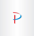 stylized letter p blue red icon logotype vector image vector image