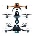 three drones with camera graphic vector image