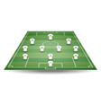 top and back view of football field with team play vector image