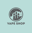 vape shop logo vaporizer clouds factory vector image