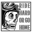 vintage skull cafe racer wearing helmet and text vector image