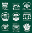 vintage theatre emblems labels badges vector image