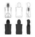 sleeveless hoody with zipper vector image