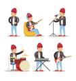 musicians cartoon man playing on guitar vector image