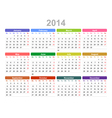 2014 year annual calendar monday first english vector image vector image