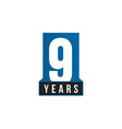 9 years anniversary icon birthday logo vector image