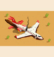 aircraft desert crash composition vector image