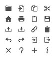 application toolbar glyph icons vector image vector image