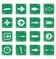 arrow icons set grunge vector image vector image