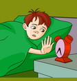 boy waking up cartoon vector image vector image