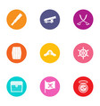 buccaneer icons set flat style vector image vector image