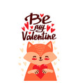 cartoon cute fox with heart vector image vector image