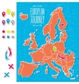 Cartoon style hand drawn journey map of europe vector image vector image