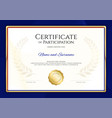 certificate template in sport theme with blue vector image vector image