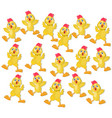 chicken funny cartoon pattern background vector image vector image