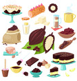 chocolate choco sweet food from cocoa beans vector image