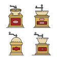 coffee grinder icons set line color vector image vector image