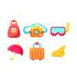 collection cute glossy summer symbols backpack vector image vector image