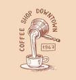 cup coffee and a jug milk logo and emblem vector image vector image