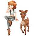 cute girl and little fawn vector image vector image