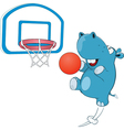 Cute Hippo Basketball Player vector image vector image