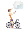 cyclist man wins the race vector image vector image