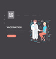 doctor with syringe injecting vaccine shot to vector image