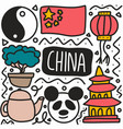 doodle set chinese holidays hand drawing vector image