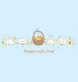 easter banner with cute chickens and rabbits vector image