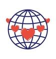 Globe love symbol vector image