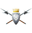 halberds shield and crown vector image vector image