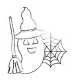 halloween happy ghost with hat and broom vector image vector image