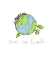 hand drawn cartoon earth vector image