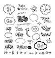 Hand drawn set of speech bubbles with dialog words vector image vector image