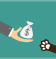 hand giving money bag with dollar sign dog cat vector image vector image