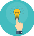 Hand touching light bulb Know how concept Flat vector image