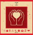 hands holding heart - protection icon vector image vector image