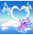 Heart cloud and butterflies vector image vector image
