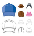 isolated object of headgear and cap sign set of vector image vector image