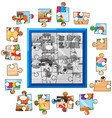 jigsaw puzzle game template kids playing vector image vector image