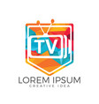 letter tv shield logo design vector image vector image
