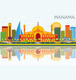 manama skyline with color buildings blue sky and vector image vector image