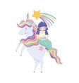 mermaid on unicorn shooting star rainbow cartoon vector image vector image