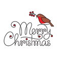 Merry christmas hand lettering with bullfinch and vector image vector image