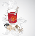 mulled warm wine background vector image vector image