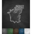 Paris map icon Hand drawn vector image vector image