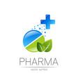 pharmacy symbol with green leaf and cross vector image vector image