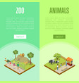 public zoo isometric 3d posters set vector image vector image