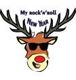 rock-n-roll new years deer in glasses vector image vector image