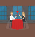 romantic loving couple sitting in restaurant or vector image vector image